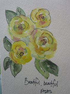 Yellow Roses Watercolor Card