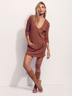 Phoenix Mini Dress | Super comfy long sleeve ribbed pullover mini dress, featuring an oversized, shapeless fit. V-neckline and kangaroo pocket.
