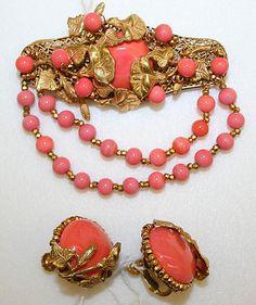 Miriam Haskell earrings and brooch set