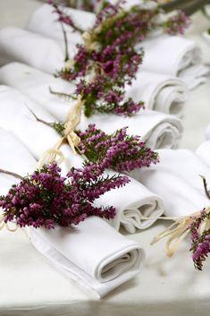 Heather napkin decor. #weddingtabledecor #wedding #table #decor #autumn Flower Decorations, Wedding Decorations, Table Decorations, Wedding Designs, Wedding Styles, Heather Flower, Gifts For Photographers, Table Flowers, Event Design