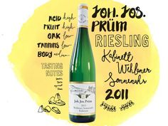 Germany's best riesling comes from the Mosel region, known for its off-dry expressions.  Joh. Jos Prüm Riesling Kabinett Wehlener Sonnenuhr 2011 wine illustrations, handlettering and typography
