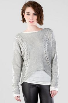 Love the sparkle on the Harper Hi-Lo Sequin Sweater.  I'll need this to stay warm this winter!  #francescas #franlove #dearsanta