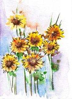 Sunflowers Nature art Watercolor flowers by HandmadeExclusives, $10.00