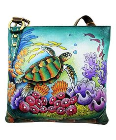 Blue & Green Turtle Hand-Painted Leather Crossbody Bag