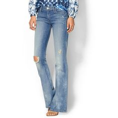 Mother The Cruiser Jean found on Polyvore featuring polyvore, fashion, clothing, jeans, getting rowdy, ripped jeans, ripped blue jeans, faded blue jeans, distressed jeans and flare jeans