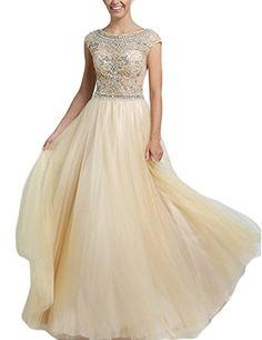 BessDress Long Beaded A Line Prom Dresses Gorgeous Cap Sleeves Formal Evening Gowns BD088