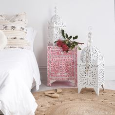 STRAWBERRY & MOTHER OF PEARL INLAY BEDSIDE TABLE http://www.zohiinteriors.com.au/