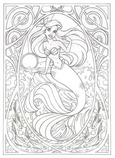 Coloring page for later! Or this >>> Art Nouveau Ariel by Jennifer Gwynne Oliver Illustration Make your world more colorful with free printable coloring pages from italks. Our free coloring pages for adults and kids. Coloring Book Pages, Printable Coloring Pages, Ariel Coloring Pages, Free Disney Coloring Pages, Disney Coloring Sheets, Disney Princess Coloring Pages, Coloring Worksheets, Coloring Pages For Kids, Kids Coloring