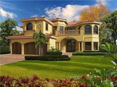 This extraordinary luxury home with Mediterranean influences (Plan #107-1058) has over 6170 sq ft of living space. The two story floor plan includes 6 bedrooms.