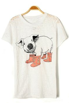 @nikki striefler Frangione, please buy this. Cute Pig Graphic Tee OASAP.com