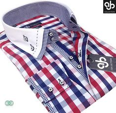 New Mens Smart Casual, White Blue Red Check Double Collar Italian Slim Fit Shirt in Clothes, Shoes & Accessories, Clothes, Shoes & Accessories | eBay
