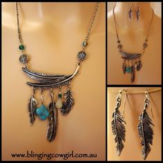 Burnished Silver BOHO METAL FEATHER BEADS CHARM NECKLACE EARRING SET - Turquoise