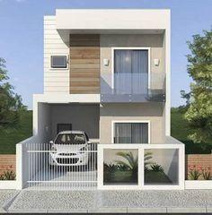 Super Minimalist Home Exterior Facades House Floor Design, 2 Storey House Design, Bungalow House Design, Minimalis House Design, Modern Small House Design, Model House Plan, Home Building Design, Building Exterior, Facade House