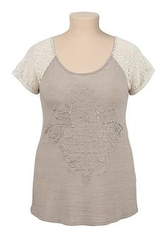 Lace sleeve lotus puff paint plus size tee (original price, $29) available at #Maurices