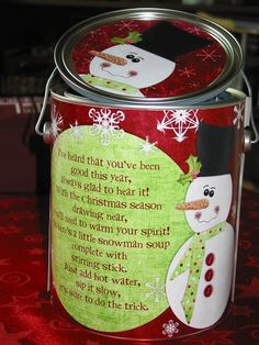 """Funky Polkadot Giraffe: Snowman - Several snowman-themed craft ideas, including this """"snowman soup"""" neighbor gift, including the free printable"""