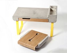 Dobrobox & Dobrostol by Katerina Vagurina - The functionalities of these two different objects are pretty straightforward: one is a silverware organizer and one is a bedside table. But what really sets them apart is a unique material combination of fiber-concrete and raw wood that's just plain beautiful! Read more at http://www.yankodesign.com/2014/06/10/crazy-about-concrete-2/#DqzfpvmDoXUloyuR.99