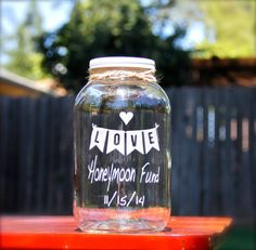 Custom Half Gallon Mason Jar Honeymoon Fund