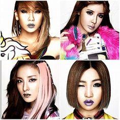 2NE1. K-pop makeup hair style.