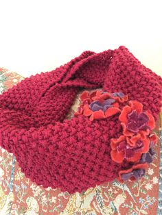 Items similar to Hand-knit Hand-felted Floral Embellished Cotton Cowl on Etsy Cowls, Hand Knitting, Scarves, Felt, Floral, Cotton, Etsy, Fashion, Scarfs