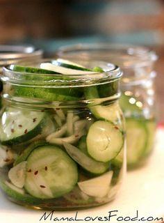 Garlic Dill Refrigerator Pickles by MommyNamedApril, via Flickr  Ingredients:  Cucumbers, Garlic, Onion, Dill SEED, Salt, White Vinegar, Water.