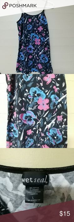 Wet Seal adjustable strap tank top black floral This is most incredible pansy pink and blue print cammi! The straps are adjustable. Measurements not including the straps top of fabric to bottom of shirt23in armpit to armpit laying flat 15in with considerable stretch. Gently used condition fabulous shirt! Check out my other items and automatically save 25% on a bundle of three or more! Don't be afraid to make an offer on any of my items! Please take a moment and pray for our troops overseas…