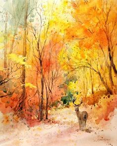 Watercolor by Julie Gilbert Pollard Watercolor Trees, Watercolor Landscape, Landscape Art, Landscape Paintings, Watercolor Artists, Watercolor Paintings, Autumn Painting, Autumn Art, Tree Art