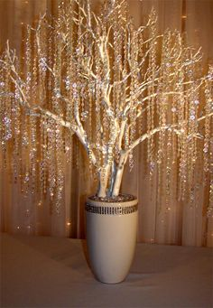 Manzanita tree with hanging crystals Wedding Centerpieces, Wedding Decorations, Wedding Ideas, Manzanita Tree Centerpieces, Hanging Decorations, Trendy Wedding, Diy Wedding, Willow Tree Wedding, Crystal Tree