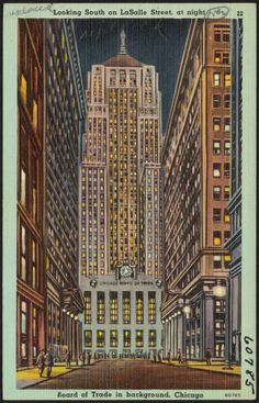 Looking South on LaSalle Street, at night. Board of Trade in background. Chicago (vintage postcard)