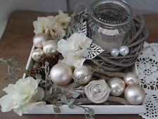 Tablett Tischdekoration Kranz Glas Rose Herz Landhaus  Shabby chic  Weihnachten