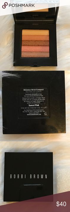NEW Bobbi Brown Sunset Pink Shimmer Brick This is a brand new without box sunset pink shimmer brick by Bobbi Brown. It is gorgeous! Warm peach, pink, and Beige tones. I have the styrofoam square that protects the brick.the bottom of the case is a little scratched up. This color was limited edition and sold out very quickly. Unavailable now. Bobbi Brown Makeup