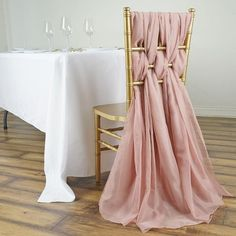 Elegant Chiffon Chair Sashes For Wedding Event And Party Dec Dusty Rose Wedding, Floral Wedding, Wedding Bouquets, Wedding Dresses, Wedding Flowers, Pale Pink Weddings, Formal Dresses, Low Cost Wedding, Wedding Chairs