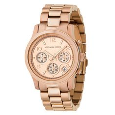 A rose goldtone finish defines this uniquely elegant Michael Kors watch. The women's timepiece is finished with a sleek golden dial.