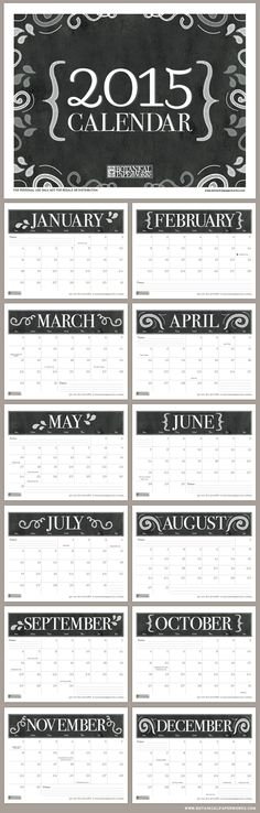FREE printable monthly write-in calendar for 2015