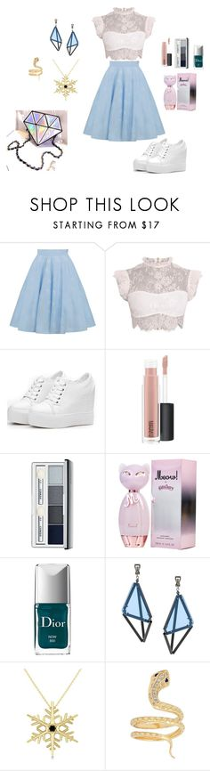 """""""Blue Saturday"""" by moge-tan ❤ liked on Polyvore featuring MAC Cosmetics, Clinique, Christian Dior, Issey Miyake, Allurez and Iconery Basics"""