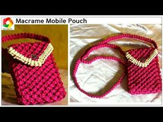 Crochet Phone Pouch Easy DIY Tutorial of Handmade Macrame Mobile pouch Cell Phone Pouch, Diy Phone Case, Cellphone Case, Phone Holder, Macrame Thread, Macrame Bag, Macrame Patterns, Crochet Patterns, Macrame Tutorial