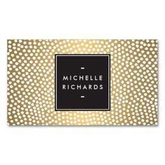 Customizable business card template for event planners or stylists - fun confetti pattern on gold is eye-catching and unique.