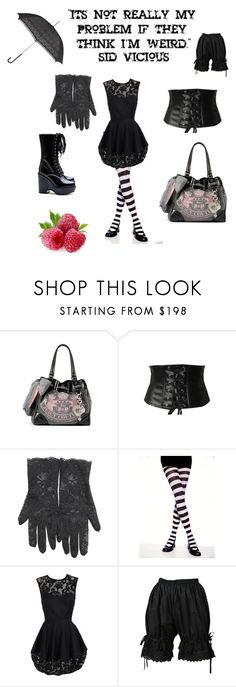 """""""Romanticide Post-Punk Gothic Weird Girl"""" by wildenancy ❤ liked on Polyvore featuring Dr. Martens, Juicy Couture, Tripp, Topshop, Leg Avenue, Opening Ceremony, Bodyline, John Lewis, stripes and gothic"""