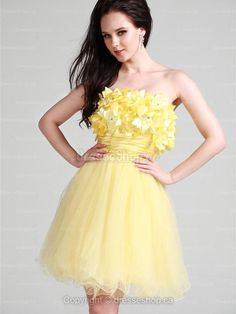 A-line Strapless Tulle Short/Mini Light Yellow Flowers Homecoming Dress