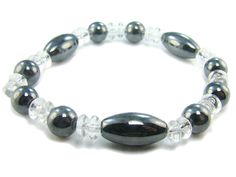 BB0818 Hematite Clear Quartz Natural Crystal Gemstone Stretch Bracelet - See more at: http://waggashop.com/wagga-shop-bb0818-hematite-clear-quartz-natural-crystal-gemstone-stretch-bracelet
