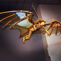 "Look up! This model built from Leonardo da Vinci's design for an ornithopter (an aircraft flown by flapping the wings) hangs in the museum in Washington, DC. See it and Leonardo da Vinci's original ""Codex on the Flight of Birds,"" on view from September 13th to October 22nd. #LeonardoDC #2013ItalianYear"