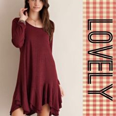 """🌺3X HOST PICK🌺TIERED DRESS IN CLARET! Cute little dress in claret, double tiered & asymmetrical hem with attached lining. Just adorable!  Polyester, viscose and spandex.                         ♦️S: bust 34.5""""♦️M: bust 36.5♦️LENGTH: 31-33"""" longest point tla2 Dresses Mini"""