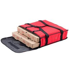 """Nylon Insulated Pizza Delivery Bag Size 18"""" x 18"""" x 5"""". Red Nylon Insulated Pizza Delivery Bag easy to insert pizza orders for quick and professional service. Nylon material makes sure for water resistance, Unbreakable Carry Handles. Carrying bag and handling with confidence. Bag dimension area Length : 18"""" - Width:18"""" - Height:5"""" - Capacity: 1 and 2 Pizza. Self-confidence grommets allow excess humidity run away the bag."""