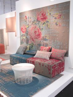 DIY ideas - Cross stitch embroidery as wall art, on pillows, furnitures and rug. Inspirations from Maison&Objet Paris fair.
