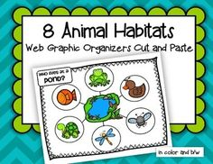 Children create animal habitat webs graphic organizers by cutting and pasting 6 typical animals onto a habitat mat background. There are 8 habitats/environments represented: Forest – Rainforest – Farm – Ocean – Pond – Desert – Arctic – African Savanna. All pages are shown in the preview. 26 pages.