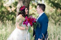 Flowers by Lace and Lilies, Summer Bouquet and Flower Crown, Vibrant Pink Flowers