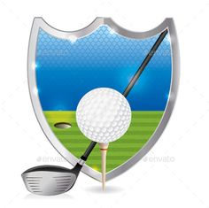 An illustration of a golf ball on a tee with a golf driver on a golf course emblem. Vector EPS 10. EPS file is layered and contain