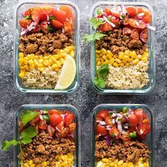 Hello, Meal Prep Turkey Taco Lunch Bowls!Now this recipe from @denise_sweetpeasandsaffron is definitely one to make! _ Ingredients: Rice ¾ cup uncooked brown rice ⅛ tsp salt zest of 1 lime Turkey ¾ lb lean ground turkey 2 tablespoons taco seasoning of choice Salsa 1 pint cherry tomatoes, quartered 1 jalapeno, minced ¼ cup red onion, minced juice from ½ a lime ⅛ tsp salt Other: one 12 oz/341 mL can corn kernels, drained & rinsed ¼ cup shredded cheese (cheddar or mozzarella)  METHOD…