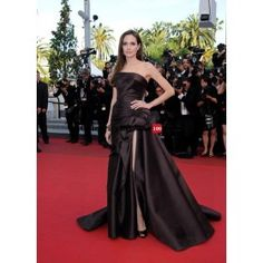 Angelina Jolie Strapless Chocolate Silk Gown Celebrity Dress Tree of Life Premiere Cannes 2011