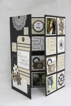 Florilèges Design Plus Mini Albums Scrapbook, Scrapbook Pages, Swing Card, Handmade Scrapbook, Paper Crafts, Diy Crafts, Handmade Birthday Cards, Handmade Cards, Album Book