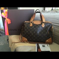 Louis Vuitton Retiro Authentic, receipt included Loved Authentic Louis Vuitton Retiro. Comes with recept, dust bag, box & bow. Leather on handles shows darkening but just adds to the timeless character if the bag. Inside also has some pen stains & signs of wear. This bag can be worn as a top handle or a shoulder bag. Louis Vuitton Bags Shoulder Bags